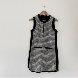 Madewell Tweed Weave Zip Dress 4 Black White Mini